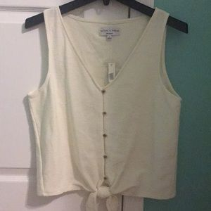 Madewell button front tie tank top